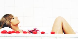 Woman bath flower Stock Photo