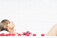 Woman bath flower Royalty Free Stock Photography