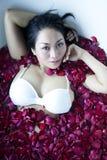 Woman bath flower Stock Photos