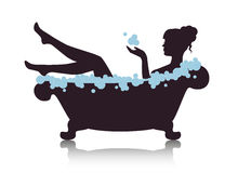 Woman in a bath with foam. Silhouette elegant woman in the bath with foam stock illustration