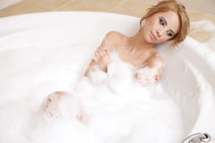 Woman in bath relaxing Royalty Free Stock Images