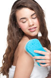Woman with bath sponge Royalty Free Stock Images