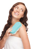 Woman with bath sponge Stock Photography