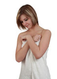 Woman with bath towel Stock Photos