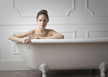 Woman in  bath tub Royalty Free Stock Images