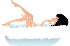 Woman in a bath. White background Royalty Free Stock Images