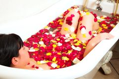 Woman bathing Royalty Free Stock Images