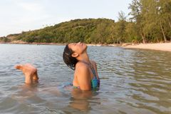 Woman bathing at beach Royalty Free Stock Photos