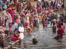 Woman Bathing On The Ganges River Royalty Free Stock Image