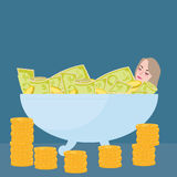 Woman bathing in money filthy rich wealth success fortune. Vector Stock Photography