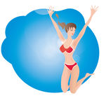 Woman in Bathing suit jump Royalty Free Stock Photography