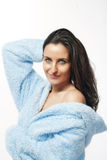 Woman in bathrobe Royalty Free Stock Photos