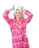 Woman in bathrobe Stock Images