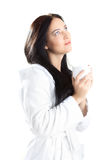 Woman in bathrobe Stock Image