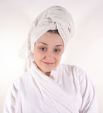 Woman in Bathrobe #2 Royalty Free Stock Photography