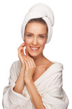 Woman in bathrobe Royalty Free Stock Images