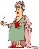 Woman in a bathrobe Stock Image