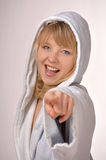 Woman in bathrobe pointing at you Stock Photos