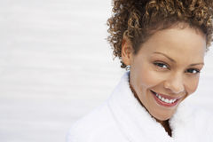 Woman In Bathrobe Smiling Royalty Free Stock Images