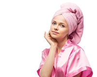Woman in bathrobe and towel Royalty Free Stock Photo