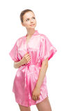 Woman in bathrobe Royalty Free Stock Image
