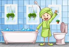 Woman in the bathroom vector illustration