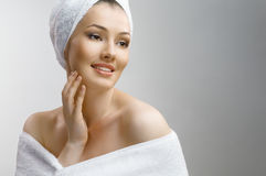 Woman with bathtowel Stock Photography