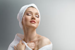 Woman with bathtowel Royalty Free Stock Image