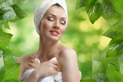 Woman with bathtowel Royalty Free Stock Images