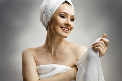 Woman with bathtowel Royalty Free Stock Photography