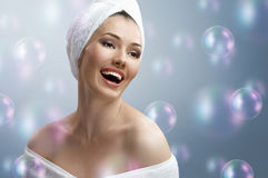 Woman with bathtowel Royalty Free Stock Photos