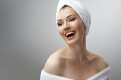 Woman with bathtowel Stock Photos