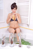 Woman in the bathtub Stock Photo