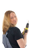 Woman with battery drill Stock Photos