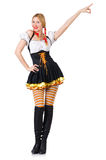 Woman in bavarian costume isolated on white Stock Images
