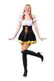 Woman in bavarian costume on white Stock Photography