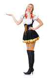Woman in bavarian costume on white Royalty Free Stock Images