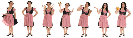 The woman in Bavarian dress. Collage. Stock Images