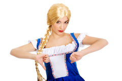 Woman in Bavarian dress with thumbs down. Stock Images
