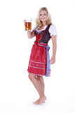 Woman in Bavarian outfit with beer Royalty Free Stock Image