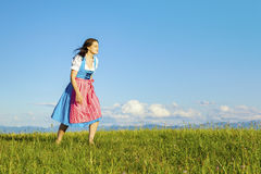 Woman in bavarian traditional dirndl Stock Photo