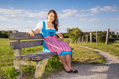 Woman in bavarian traditional dirndl Royalty Free Stock Photo