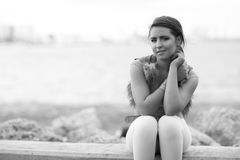 Woman by the bay Stock Image
