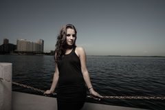 Woman by the bay in a beautiful dress Royalty Free Stock Image