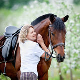 Woman and bay horse in apple garden. Portrait of horse and beautiful lady. Royalty Free Stock Photos