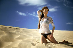 Woman on the beach. Beach woman girl sands sexy Royalty Free Stock Photography