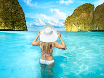 Woman on the beach Royalty Free Stock Photography