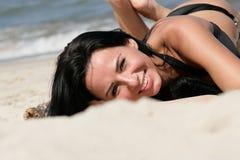 Woman on beach royalty free stock photo