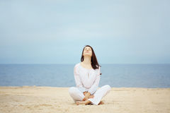 Woman at beach stock images