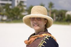 Woman on the Beach. Portrait of a Woman on the Beach Stock Photos